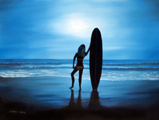MOONLIGHT SURFER GIRL Original Oil - 18