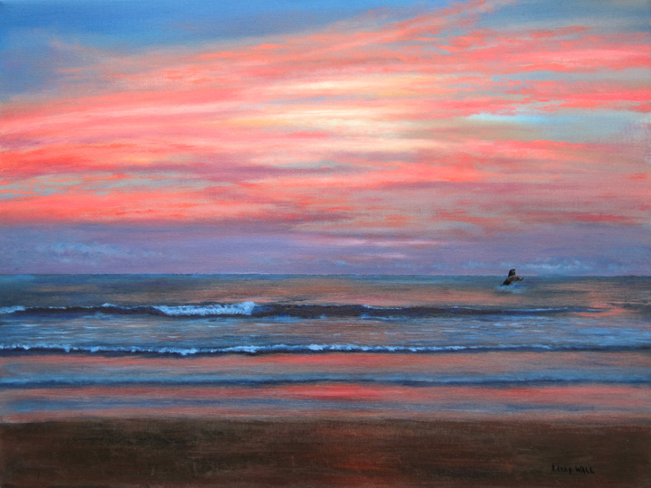 "BEACH SUNSET - Original Oil - 18"" X 24"" Paintings by Larry ..."