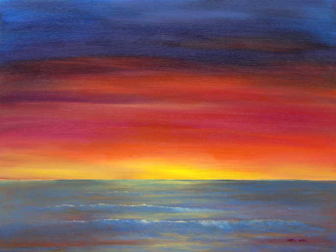"MAUI SUNSET Original Oil - 28"" X 28"" Paintings by Larry Wall ... 