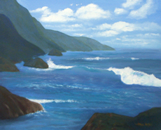 West Coastline Original Oil Painting by Larry Wall