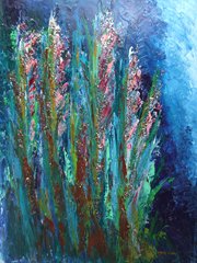 FLORAL GLITTER Original Oil & Acrylic Paintings by Larry Wall
