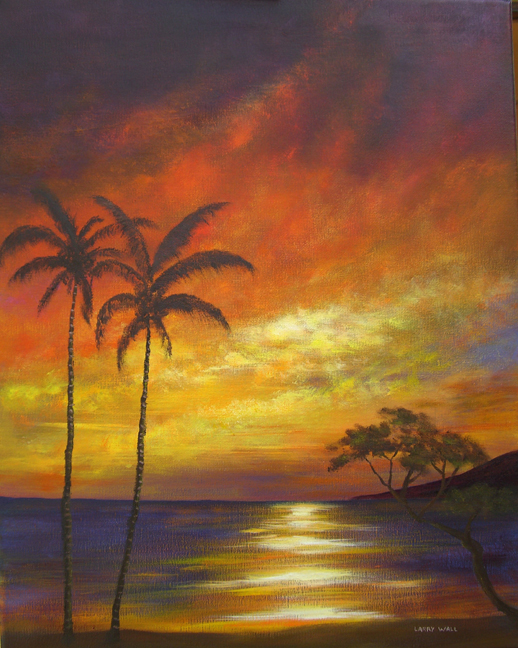 TROPICAL BEACH SUNSET Oil Paintings by Larry Wall. Ocean Wave, Seascape, Marine, Scenic