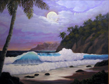 Ocean Surf Waves, Seascape tropical moon Original Oil Paintings by Larry Wall - Ocean Surf Waves, Seascape, Marine, Scenic