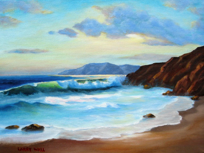 Northern California surf oil painting
