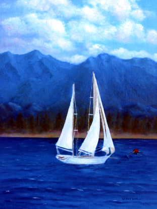 Sail Boat And Mountains