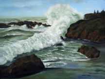 Ocean Breaker Original Oil Paintings by Larry Wall - Ocean Surf Waves, Seascape, Marine, Scenic