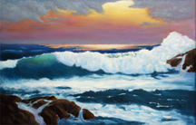ocean sunset # 4 Original Oil Paintings by Larry Wall - Ocean Surf Waves, Seascape, Marine, Scenic