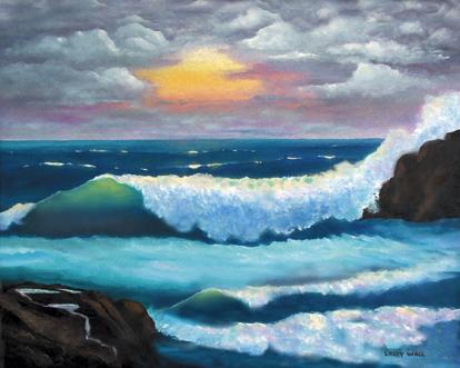 ocean sunset 5 oil painting ocean surf waves seascape