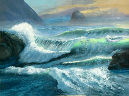 WAVES, SURF, SEASCAPE, CALIFORNIA IMPRESSIONIST OIL PAINTING by ...