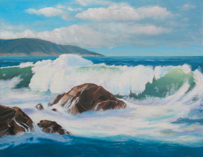 PERFECT WAVE Original Acrylic - 18&quot- X 24&quot- Paintings by Larry Wall ...
