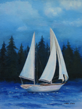 N.W. Sail Boat Original Oil Paintings by Larry Wall - Ocean Surf Waves, Seascape, Marine, Scenic